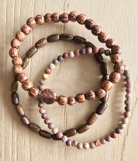 Wristocracy - Wood, Copper & Flower Agate Bracelets (set of 3)