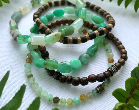 Wristocracy - Tumbled Australian Chrysoprase faceted Chrysoprase and Wood  (set of 3)