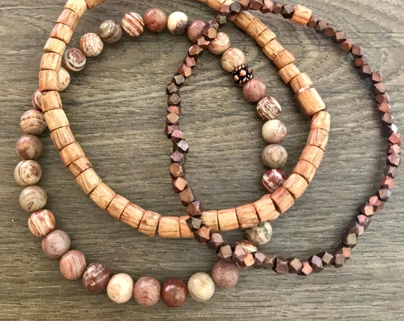 Wristocracy -  Agate, Wood and Copper Bracelets - (Sets of 3)