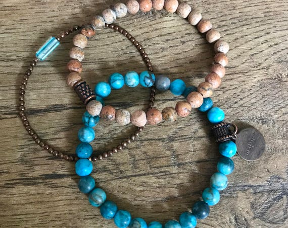 SALE - DISCONTINUED - Wristocracy - Matte Blue Agate, Grainstone & Copper Bracelets - (set of 3)