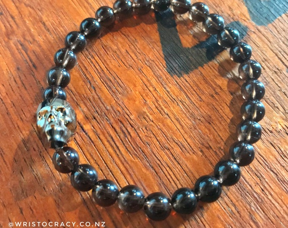 Wristocracy - Smoky Quartz & Swarovski Skull Bracelet (Single Bracelet)