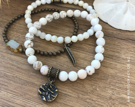 Wristocracy - Magnesite, Mother of Pearl and Brass with Czech Glass  (set of 3)
