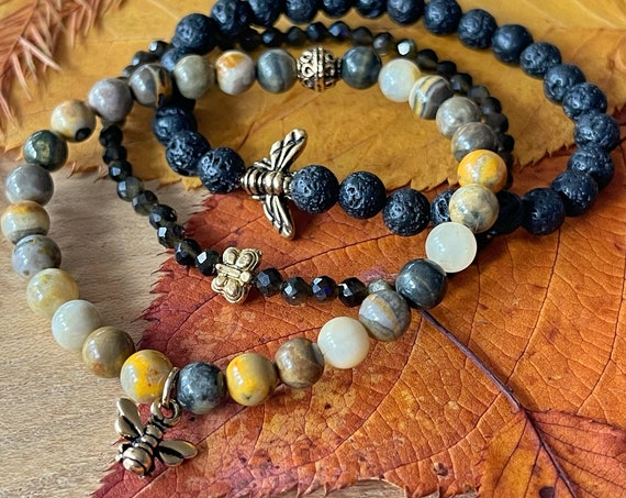Wristocracy - Bumble Bee Jasper, Lava Stone and Golden Obsidian  (set of 3)