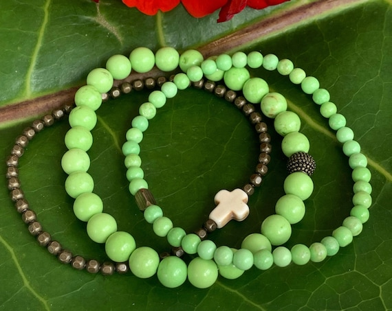 SALE - DISCONTINUED - Wristocracy - Magnesite and Antique Brass Bracelets - (set of 3)