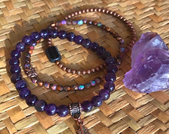 Wristocracy - Amethyst, Copper & Czech Glass Bracelets (set of 3) LIMITED EDITION