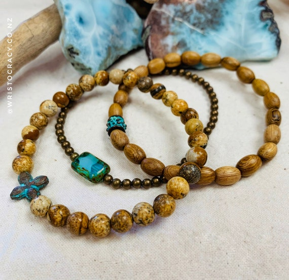 Wristocracy - Picture Jasper, Wood, Brass with Patina & Czech Glass focal beads (set of 3)