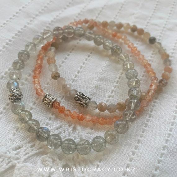 NEW Wristocracy - Sunstone & Labradorite (set of 3) with optional statement bracelet