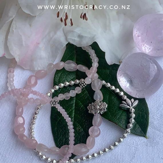 Wristocracy - Tumbled Rose Quartz, Faceted Rose Quartz & Silver plate bracelets with Lotus focals (set of 3)