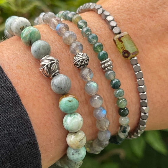 NEW - Peruvian Turquoise, Labradorite, Moss Agate and coated Hematite
