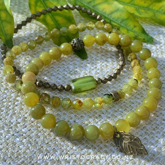 NEW Wristocracy - Olive Jade, Peridot and Brass (set of 3) LIMITED