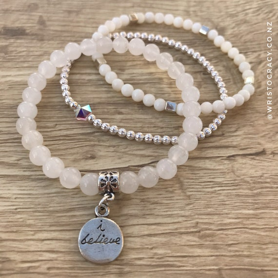 "Wristocracy - Snow Quartz, Mother of Pearl & Silver Plated (set of 3) ""I Believe"""