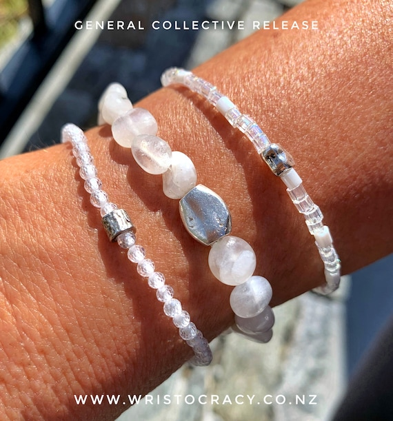 Wristocracy - Rainbow Moonstone, Zirconia, seed bead