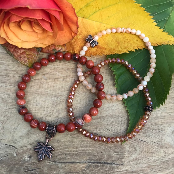 Wristocracy - Red Jasper, Calcite & Crystal Bracelets  - (set of 3)