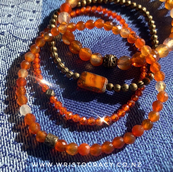 Wristocracy - Orange Agate, Antique Brass and Czech glass