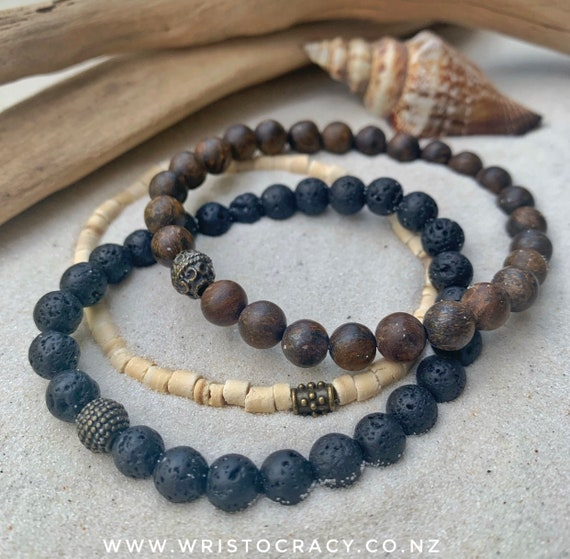 Wristocracy - Matte Bronzite, Lava Stone and Coconut (set of 3) Unisex bracelet