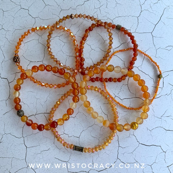 Wristocracy - Orange Single Bracelets to coordinate with Orange Agate sets