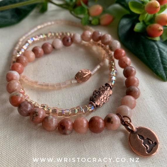 Wristocracy - Chili Jasper & copper trio (optional add in bracelets available)