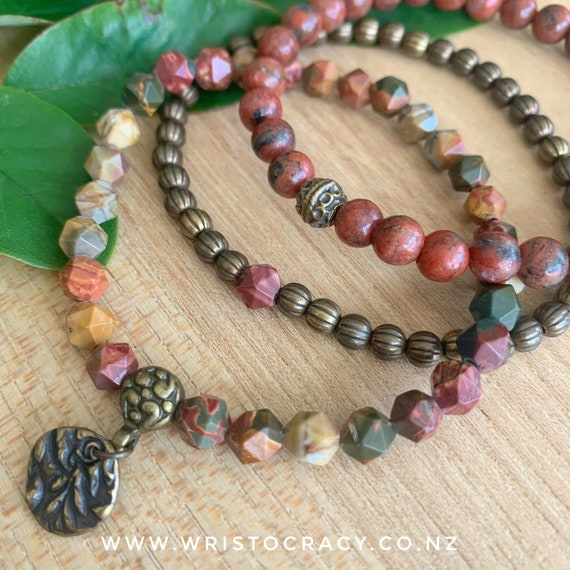 Wristocracy - Star cut Red Creek Jasper, Red Sesame Jasper and Brass