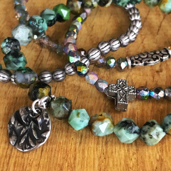 LAST CHANCE - African Turquoise, Czech Glass, Antiqued Silver (set of 3)