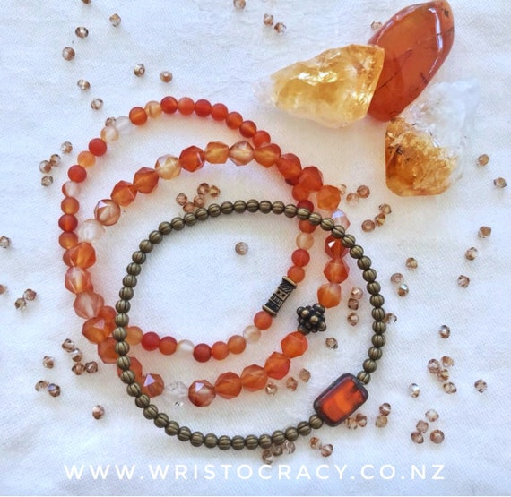 Wristocracy - Orange Agate, Brass Set of 3