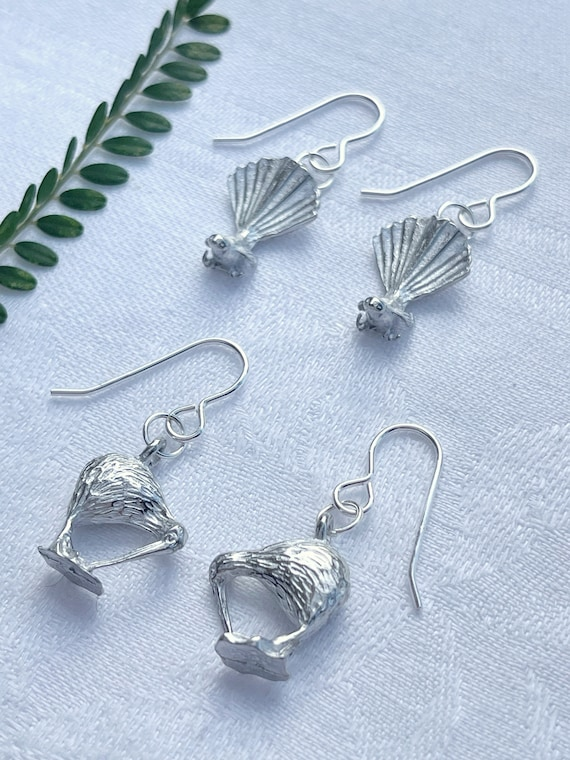 NZ Native Bird earrings - Pewter with Silver fill hooks  (Piwakawaka & Kiwi options)