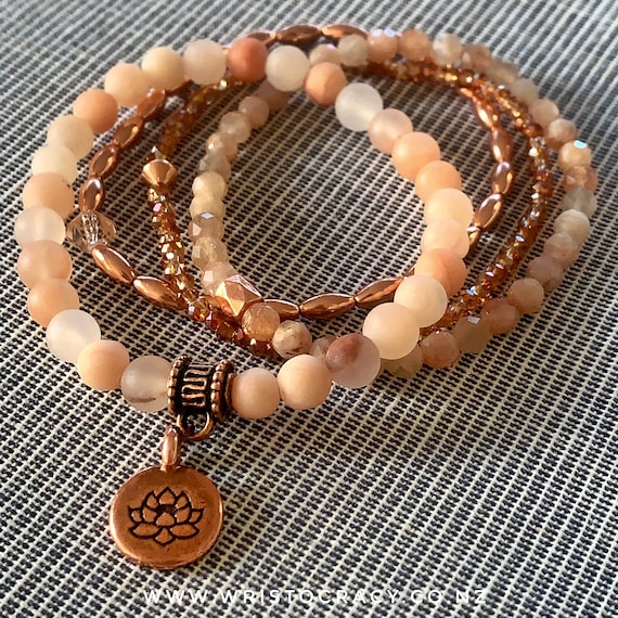 Wristocracy - Matte Rose Aventurine, Moonstone, Copper with Crystal