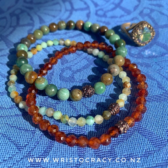 NEW Wristocracy - Dragons Blood Jade, Hessonite Garnet & Chrysoprase (set of 3)