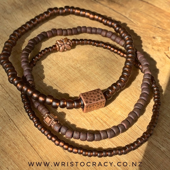 Wristocracy - Seed Bead Bracelets - (Set of 3) - Different colour options include gold, brown, black, green, blue