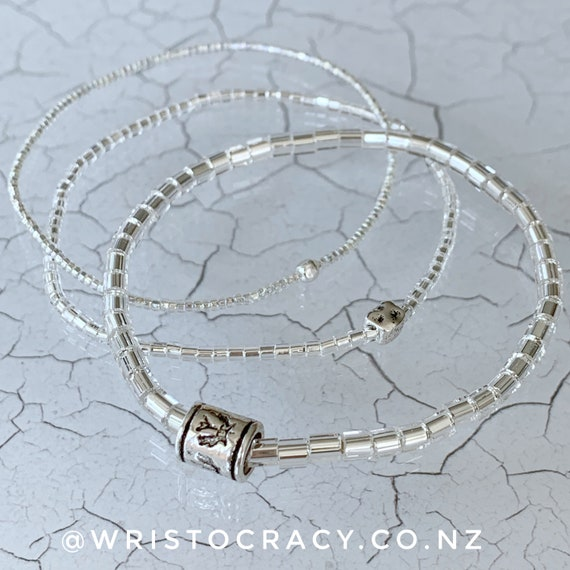 Wristocracy - Silver Seed Bead Bracelets - (Set of 3)