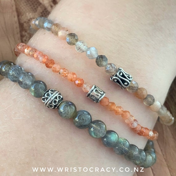 Wristocracy - Sunstone & Labradorite (set of 3) with optional statement bracelet