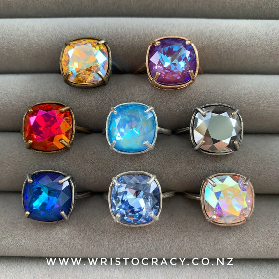 Wristocracy - Swarovski Crystal Rings - Simple Square multiple colours