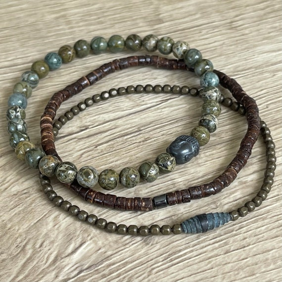 LAST ONE - DISCONTINUED - Wristocracy - Brecciated Green Jasper, Brass and Coconut Heishi (Set of 3)