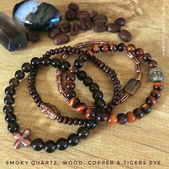 Wristocracy - Smoky Quartz, Dark Wood, Copper & Tigers Eye Bracelets - (Set of 4)