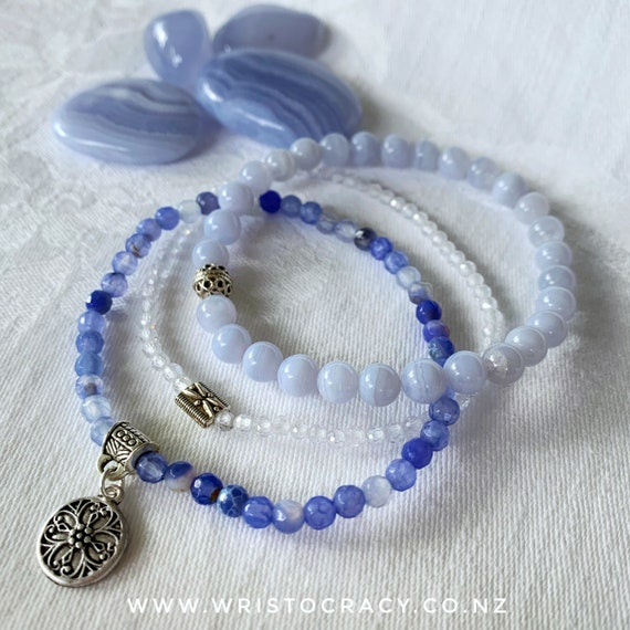 Wristocracy - Blue Lace Agate, Sodalite and Zirconia Bracelets (set of 3)