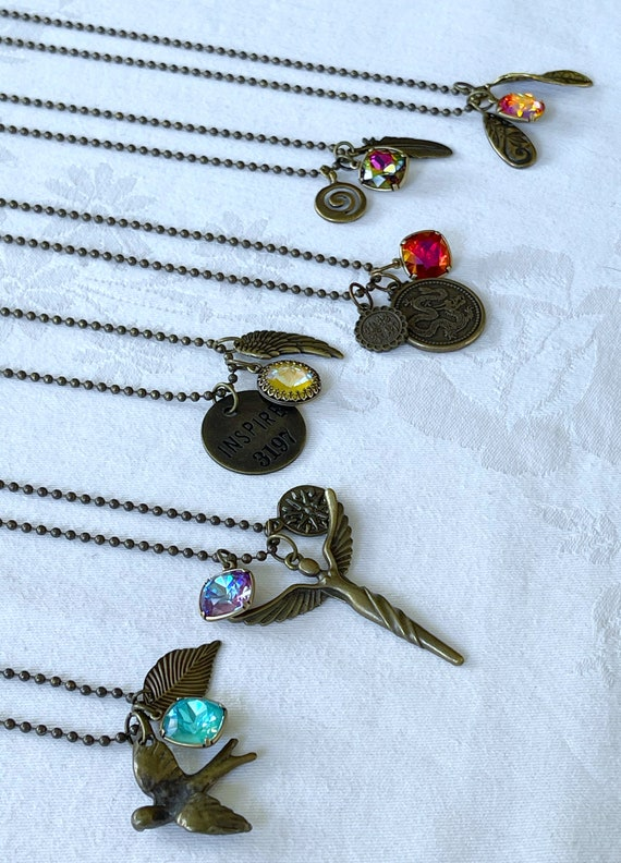 "Wristocracy - Swarovski Crystal and Charm 30"" Necklaces - Antique Brass"