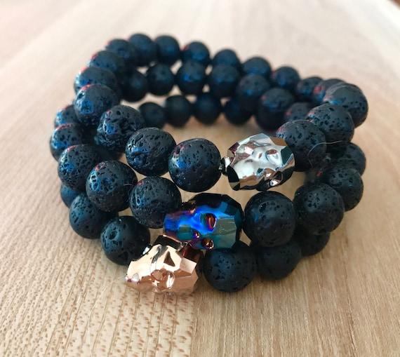 Wristocracy - Unisex Black Lava Rock & Swarovski Skull Bracelet