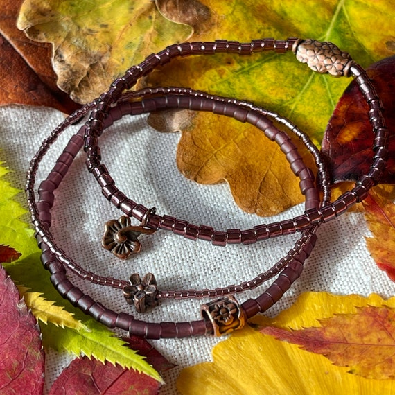 NEW - Wristocracy - Seed Bead Bracelets - (Set of 3) - options include Burgundy Red, Olive Green & Dusky Pink