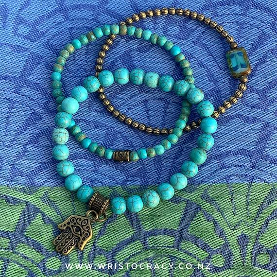 Wristocracy - Turquoise Magnesite & Antique Brass Bracelets - (set of 3)
