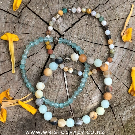 Wristocracy - Matte Black & Gold Amazonite, Faceted Ocean Jasper and Apatite, - (set of 3)