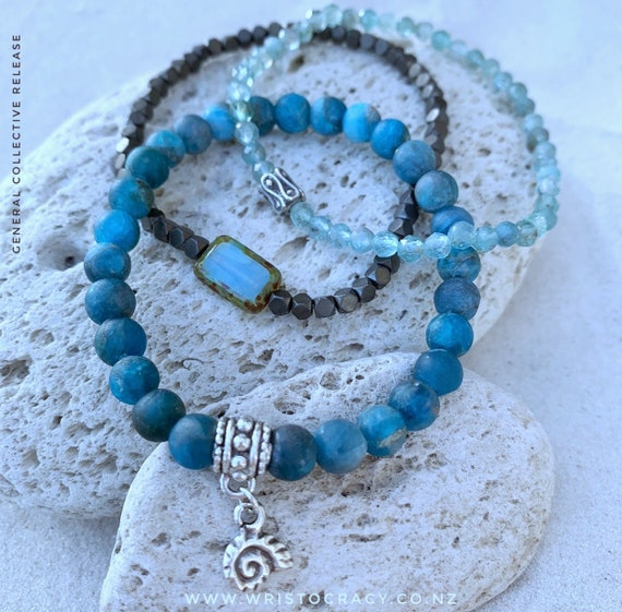 NEW Wristocracy - Pacific Blue Apatite, Apatite and Hex Hematite  (set of 3)