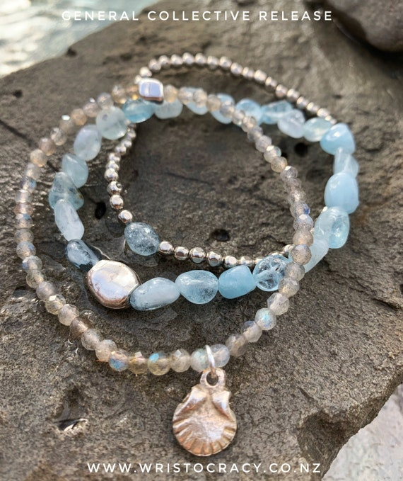 Wristocracy - Aquamarine, Labradorite and White Plate.....