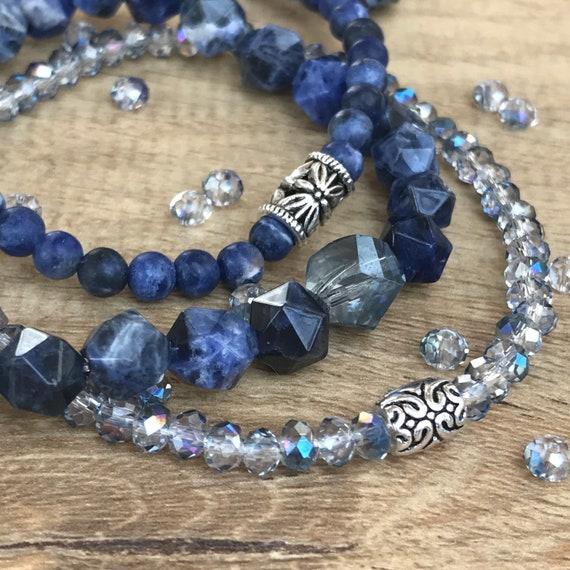 Wristocracy - Sodalite & Crystal Bracelets (set of 3) LIMITED EDITION