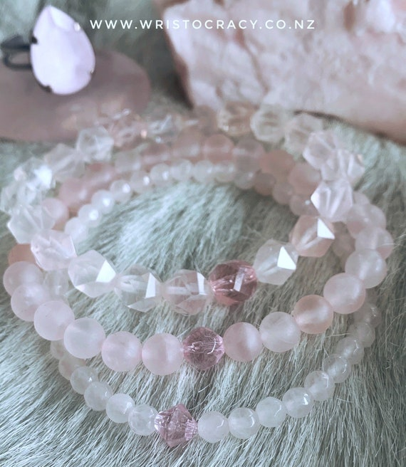 LAST CHANCE - Wristocracy - Rose Quartz trio (set of 3)