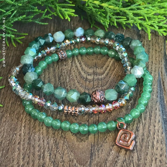 Wristocracy - Moss Agate, Green Aventurine and Crystal (set of 3)