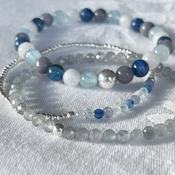 Wristocracy - Kyanite, Aquamarine, Tanzanite, Rainbow Moonstone and Montana Sapphire - (Set of 3)