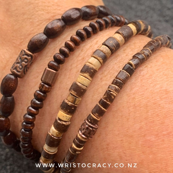 Wristocracy - Wooden Bracelet sets  (sets of 3 or 4 in light or dark woods)