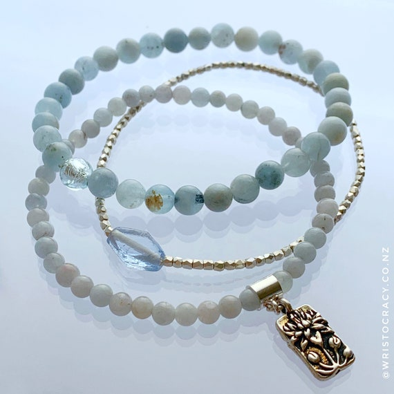 Wristocracy - Aquamarine & Silver Plate Bracelets (set of 3)