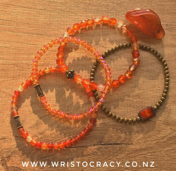 Wristocracy - Red Jasper, Calcite & Crystal Bracelets (set of 3)