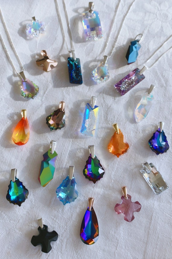 Swarovski Crystal pendants (assorted) - sterling silver chain necklace optional