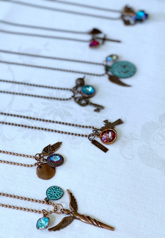 "Wristocracy - Swarovski Crystal and Charm 30"" Necklaces - Raw Copper, Antique Copper, Bronze & Patina"